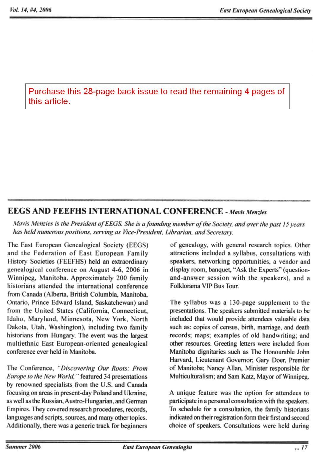 Topic Preview: EEGS and FEEFHS International Conference